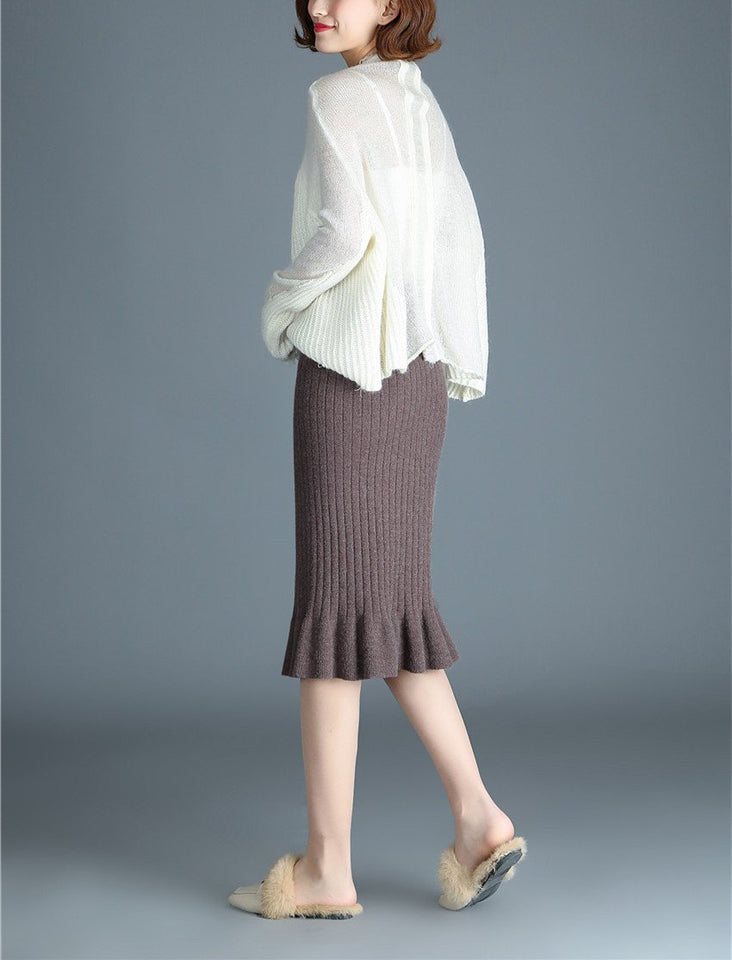 Autumn And Winter Pure Color Knitting Warm Wrap Hip Half Skirt gray one size