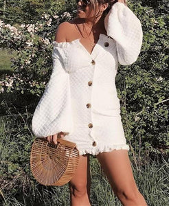 Sexy Off-The-Shoulder   Lantern Long Sleeve Mini Dress white l