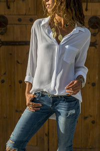 Solid Color Long-Sleeved Casual Multi-Color Shirt white l