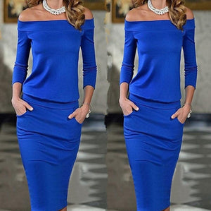 Sexy One Word Collar   Long Sleeve Bottom Maxi Dress Blue l