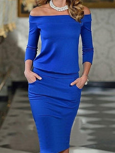 Sexy One Word Collar   Long Sleeve Bottom Maxi Dress Blue m