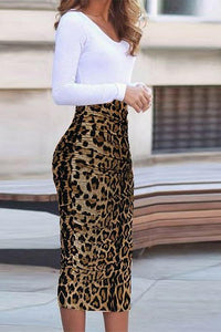 Autumn Leopard Printed Bodycon Dress Same As Photo s