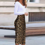 Autumn Leopard Printed Bodycon Dress Same As Photo xl