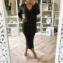 Fashion V-Neck Buttoned Sexy Slim Dress
