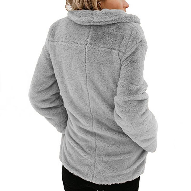 Long Sleeve Pocket Plush Jacket Light Gray s