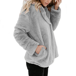 Long Sleeve Pocket Plush Jacket Light Gray m