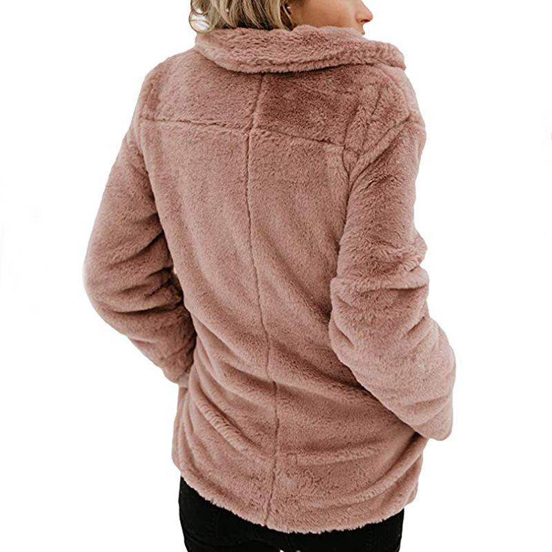 Long Sleeve Pocket Plush Jacket Peach m