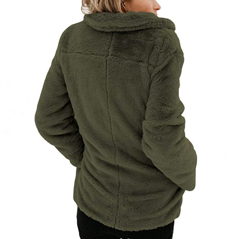 Long Sleeve Pocket Plush Jacket Army Green l