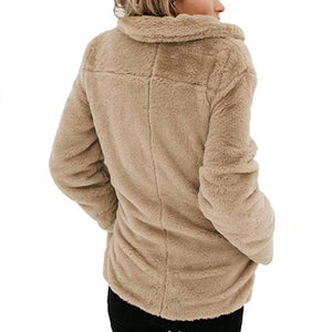 Long Sleeve Pocket Plush Jacket Apricot m