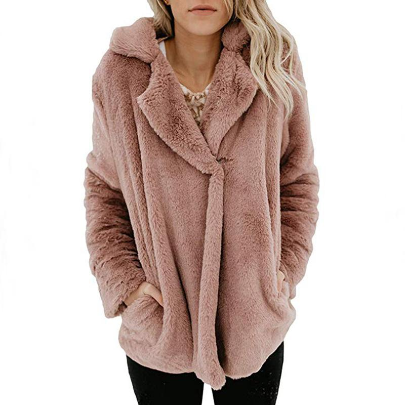Long Sleeve Pocket Plush Jacket Peach s