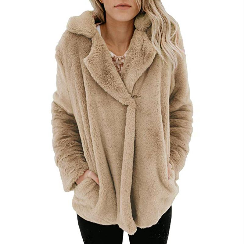 Long Sleeve Pocket Plush Jacket Apricot s