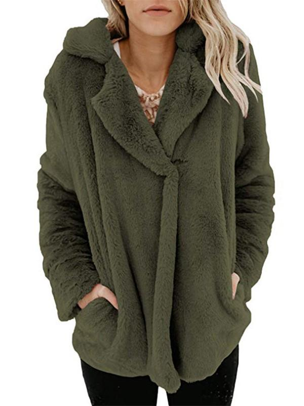 Long Sleeve Pocket Plush Jacket Army Green s