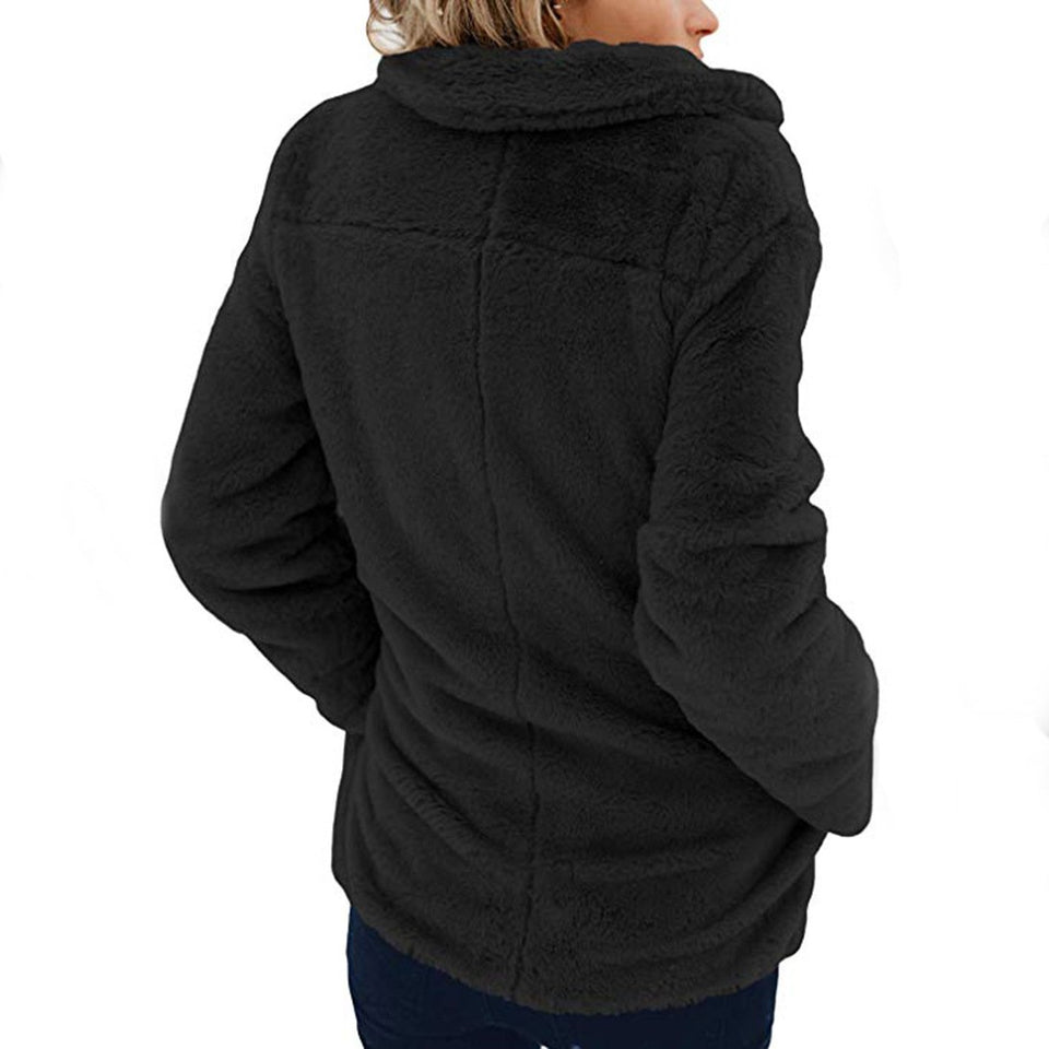 Long Sleeve Pocket Plush Jacket Black l