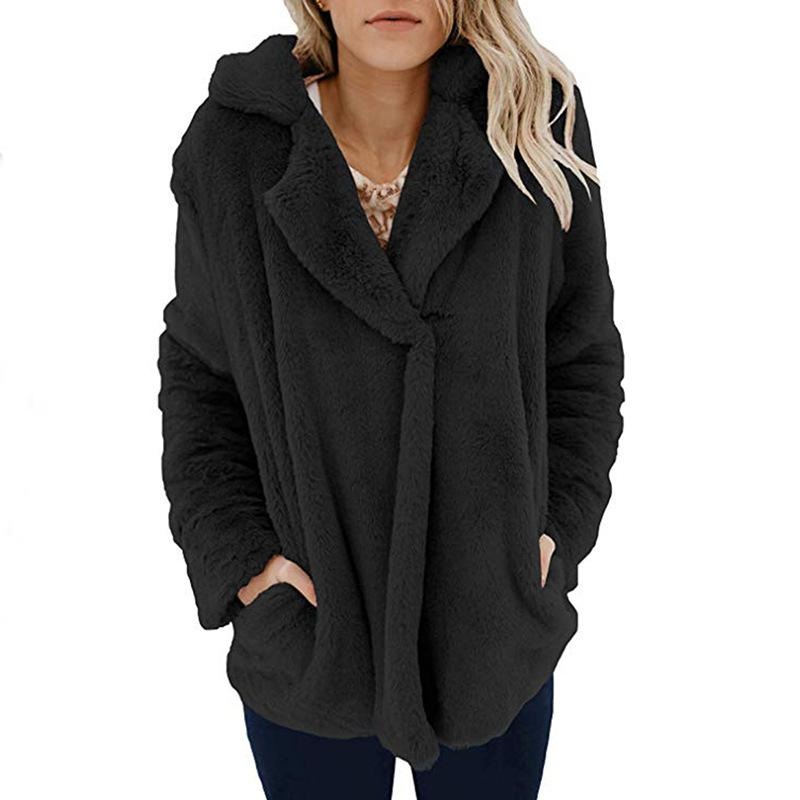 Long Sleeve Pocket Plush Jacket Black m
