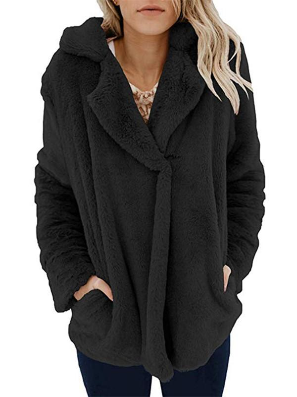 Long Sleeve Pocket Plush Jacket Black s