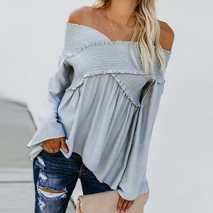 Elastic Off Shoulder Long Flare Sleeve Plain Pleated Loose T-Shirts Royal Blue s