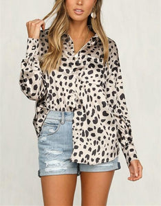 Leopard Print Long   Sleeve Shirt White xl