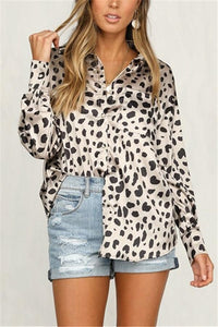Leopard Print Long   Sleeve Shirt White s