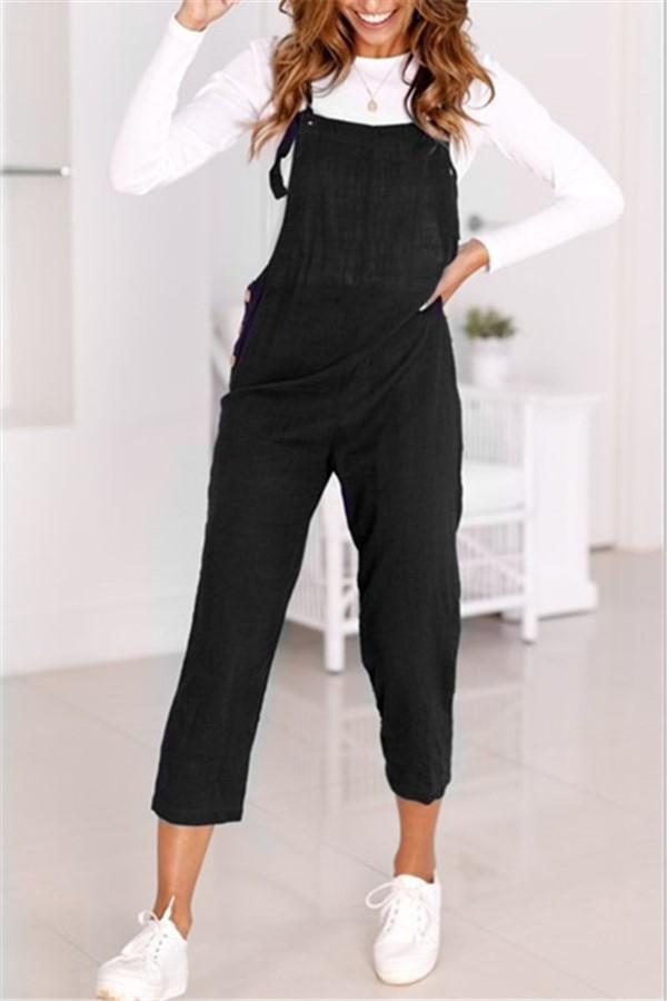 Loose Casual Straps Nine Points Casual Pants Black s