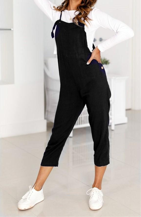 Loose Casual Straps Nine Points Casual Pants Black l