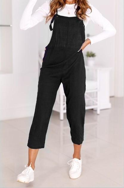 Loose Casual Straps Nine Points Casual Pants Black m