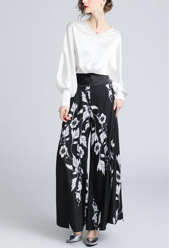 V-Collar Lantern Sleeve Top-High Waist Printed Wide Leggings Two-Piece Suit Same As Photo m