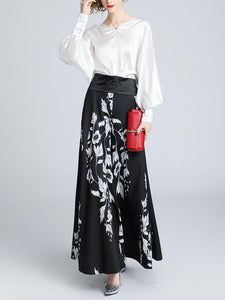 V-Collar Lantern Sleeve Top-High Waist Printed Wide Leggings Two-Piece Suit Same As Photo xl