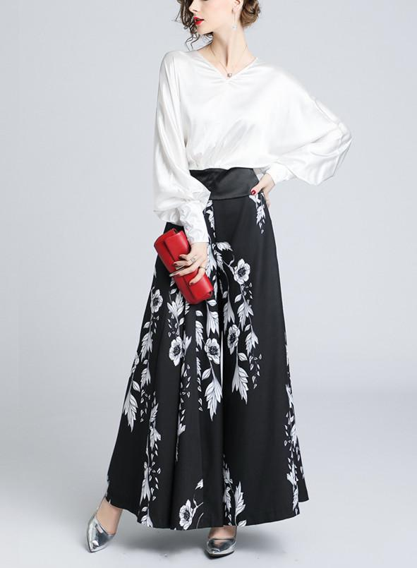 V-Collar Lantern Sleeve Top-High Waist Printed Wide Leggings Two-Piece Suit Same As Photo l