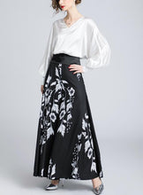 V-Collar Lantern Sleeve Top-High Waist Printed Wide Leggings Two-Piece Suit