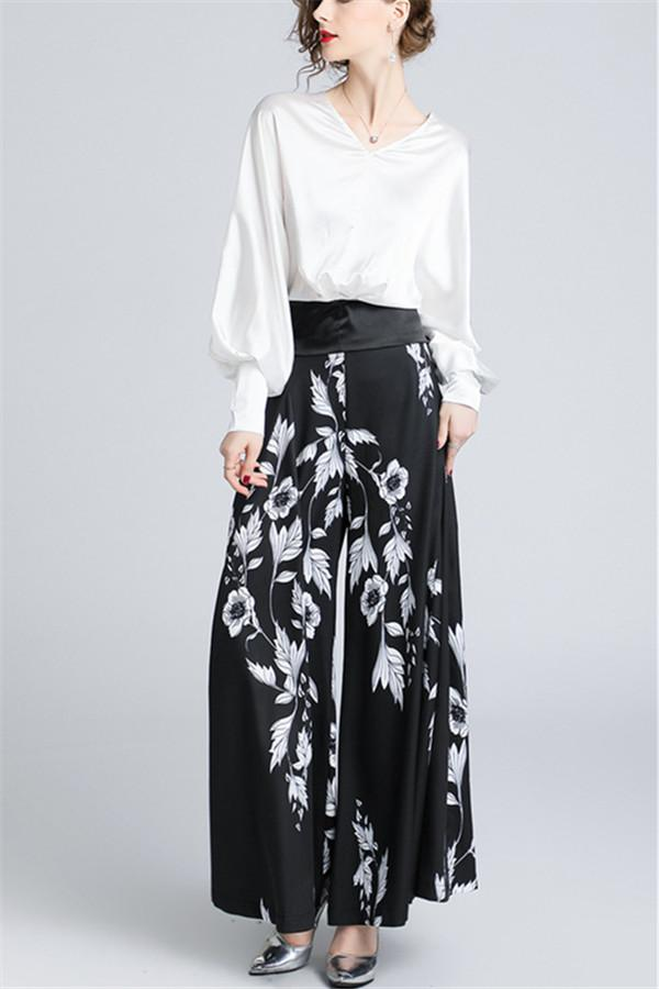 V-Collar Lantern Sleeve Top-High Waist Printed Wide Leggings Two-Piece Suit Same As Photo s