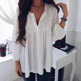 Fashion Nail Beads Loose Long-Sleeved Chiffon Top White m