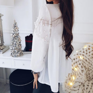 Fashion Nail Beads Loose Long-Sleeved Chiffon Top White l