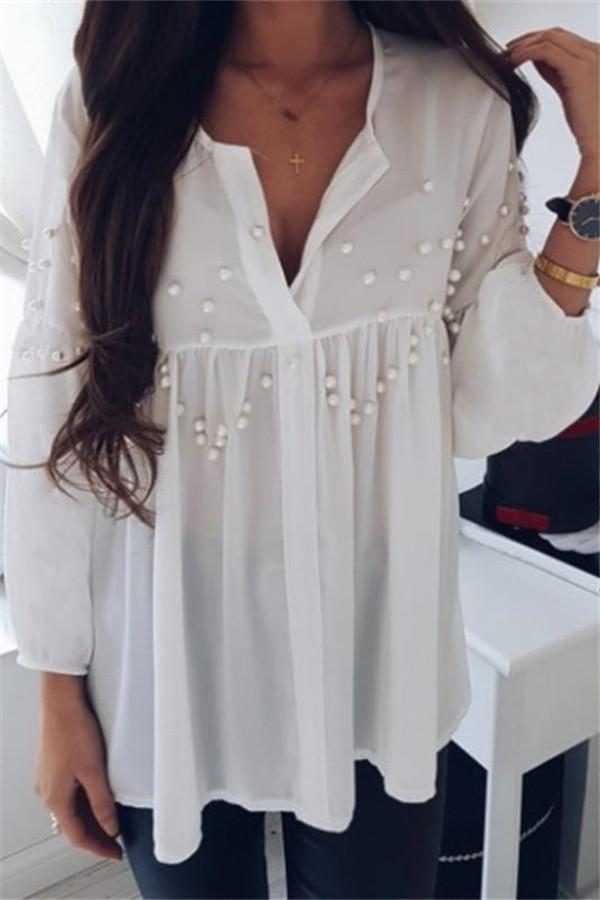 Fashion Nail Beads Loose Long-Sleeved Chiffon Top White s