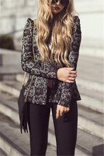 Fashion Round Collar Long Sleeves Trim Body Lace Jacket