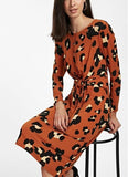 Vintage Tie Print Long   Sleeve Slim Maxi Dress Orange Red xl
