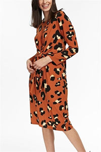 Vintage Tie Print Long   Sleeve Slim Maxi Dress Orange Red s