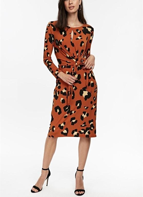 Vintage Tie Print Long   Sleeve Slim Maxi Dress Orange Red l