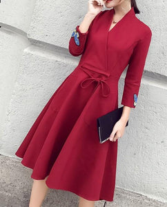 Fashion Slim Sexy V-Neck Strap Dress Claret m