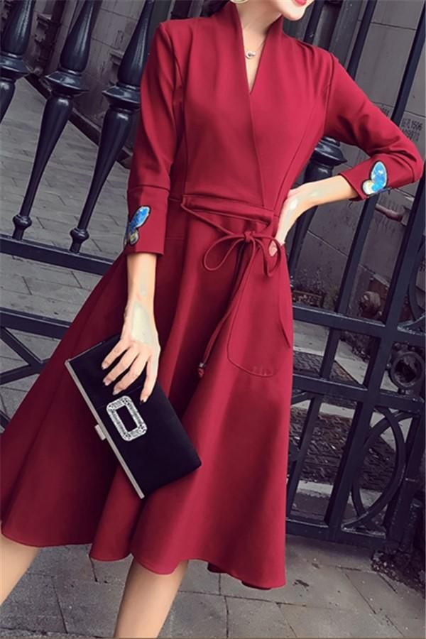 Fashion Slim Sexy V-Neck Strap Dress Claret s