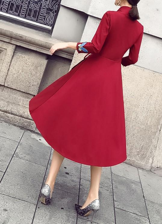 Fashion Slim Sexy V-Neck Strap Dress Claret l