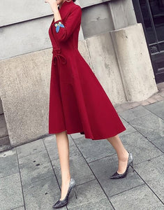 Fashion Slim Sexy V-Neck Strap Dress Claret 2xl