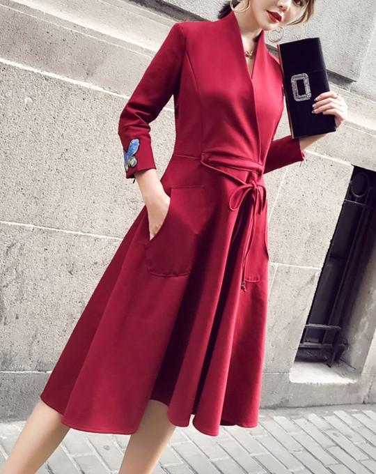 Fashion Slim Sexy V-Neck Strap Dress Claret xl