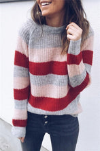 Loose Long Sleeve Striped Colorblock Sweater