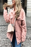 Pure-Color Cashmere Fleecy Lapel Jacket Jacket Pink s