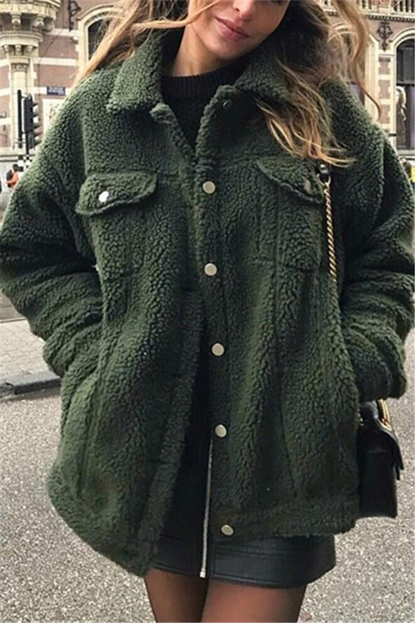 Pure-Color Cashmere Fleecy Lapel Jacket Jacket Green s