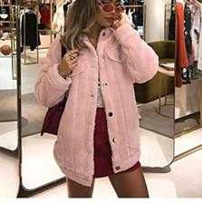 Pure-Color Cashmere Fleecy Lapel Jacket Jacket Pink l