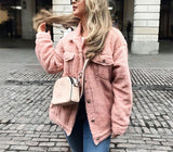 Pure-Color Cashmere Fleecy Lapel Jacket Jacket Pink m