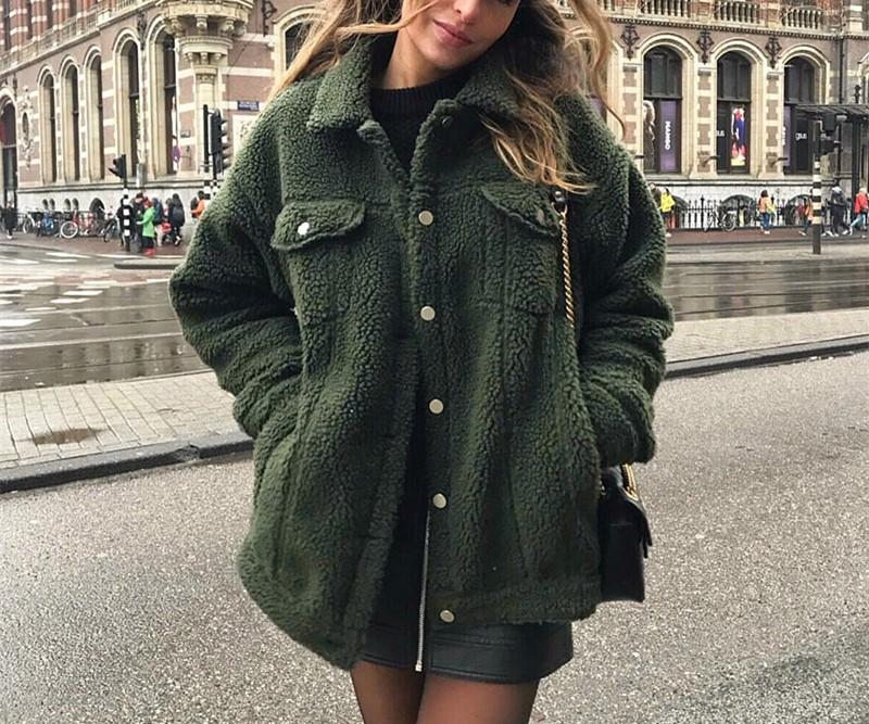 Pure-Color Cashmere Fleecy Lapel Jacket Jacket Green m