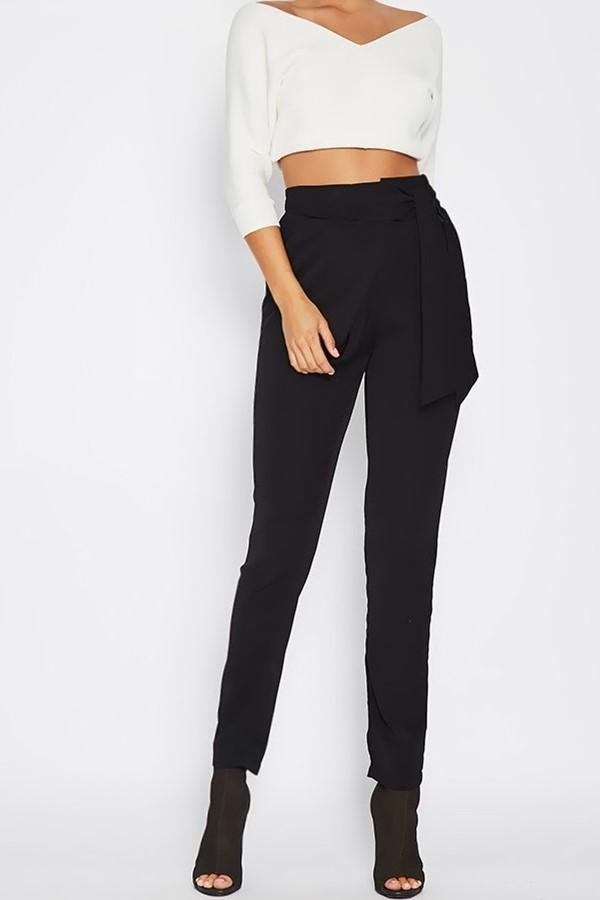 Fashion Wild Casual Solid Color Pencil Pants Black s