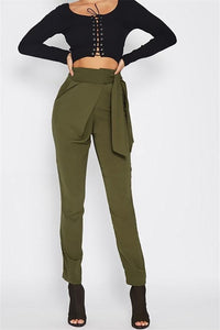 Fashion Wild Casual Solid Color Pencil Pants Army Green l